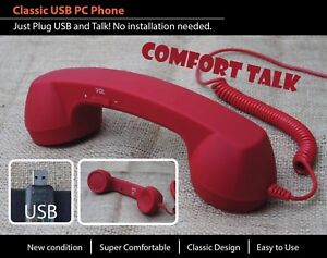 Details about USB VoIP Skype Viber GVMATE ICQ Phone Telephone Handset  Internet PC Computer red