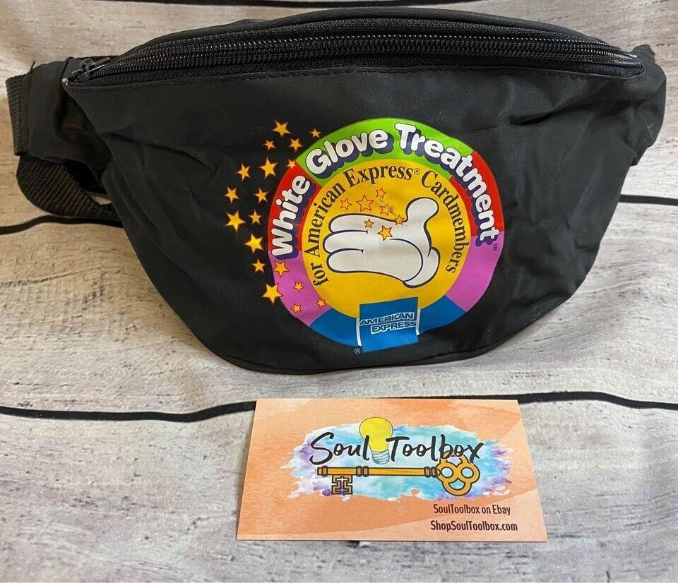 1990s Walt Disney Amex White Glove Treatment Promo Fanny Pack Waist Bag Black