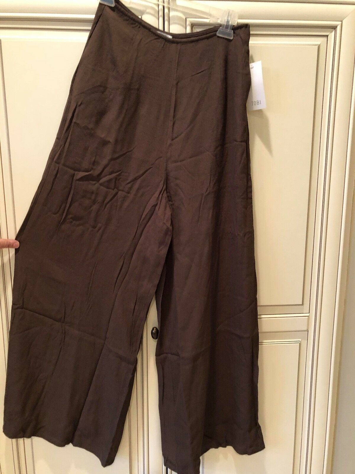 BRAND NEW WITH TAGS BY TOBI WOMEN'S  LA PLAYA HIGH WAISTED OLIVE PANTS SIZE S