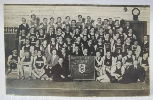 1920's BASKETBALL MS holding SCAL TROPHY banner RPPC real photo postcard