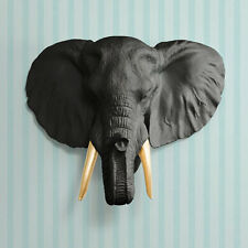 Wall Charmers Elephant in Black + Gold Tusk Faux Head Ceramic Fake Animal Resin
