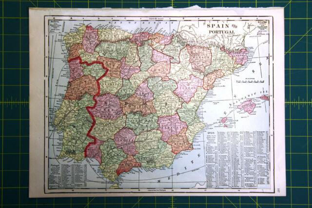 Spain & Portugal + Continent of Europe - Original 1911 Antique World ...