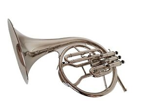 NEW-YEAR-OFFER-MELLOPHONE-FRENCHHORN-BB-F-PITCH-CHROME-FINISH-W-CASE-amp-MOUTHPIECE