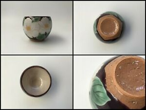 Japanese-Pottery-Sencha-Tea-Cup-Yunomi-Vintage-Signed-Kyo-Ware-Hand-Paint-Z172