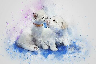Cute Cat Dog Abstract Watercolour Art Giant Poster A5 A4 A3 A2 A1 A0 Sizes