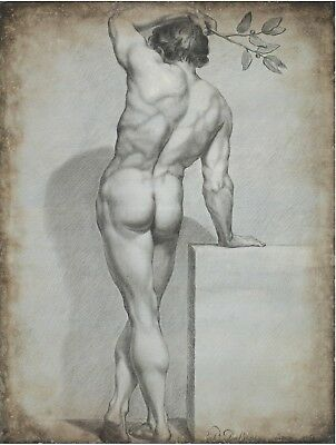 Canvas or Art Print 1800/'s Antique Art male Louis Dubourg Nude Muscular Man