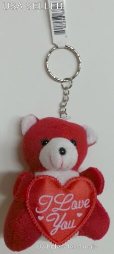 """Soft Red Teddy Bear 3/"""" with Red Heart /""""I Love You/""""  KEYCHAIN Key Chains"""
