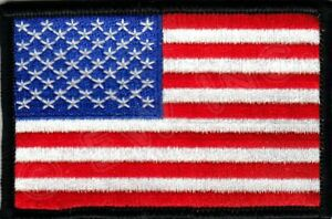 AMERICAN-FLAG-w-BLACK-BORDER-USA-PATRIOTIC-Iron-On-Embroidered-Applique-Patch