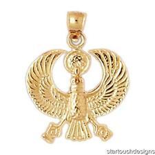 New 14k Yellow Gold Egyptian Phoenix Bird Pendant
