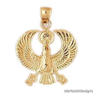 New 14k yellow gold egyptian phoenix bird pendant ebay image is loading new 14k yellow gold egyptian phoenix bird pendant mozeypictures Image collections