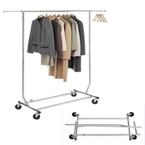 Stabiler Kleiderständer aus Stahl Garderobenständer Garderobe Ausziehbar Rollbar