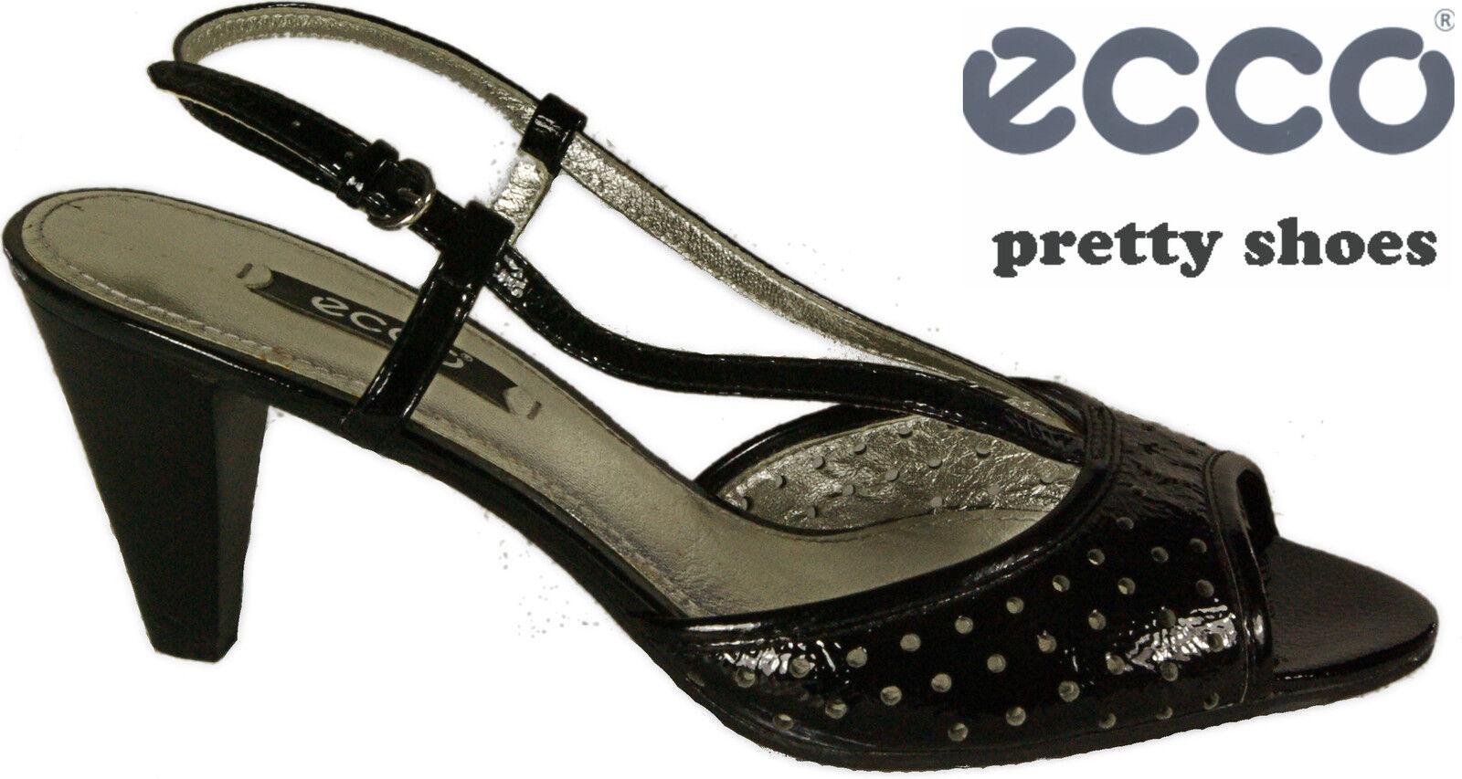 ECCO Schuhe elegante Sandaletten Sling Pumps schwarz  Lack  Leder High Heel NEU