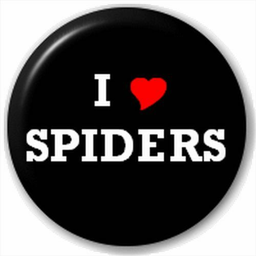 Small 25mm Lapel Pin Button Badge Novelty I Heart Love Spiders