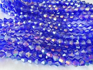 Joblot-of-10-strings-Blue-AB-6mm-bicone-shape-Crystal-beads-new-wholesale