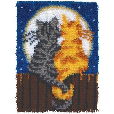 Latch Hook Kit 15x20 Moonlight Meow Wonderart Spinrite Steel Rug