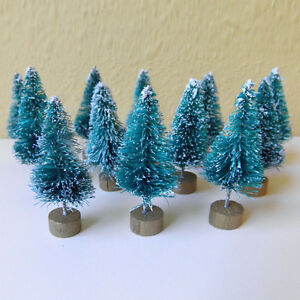 Mini-Sisal-Bottle-Brush-CHRISTMAS-TREES-Snow-Frost-Village-Putz-Great-Q-12pcs