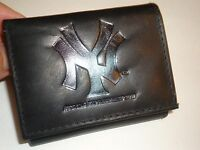 York Yankees Genuine Leather Trifold Wallet,black