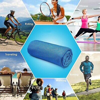 Instant Cooling Towel ICE Cold Cycling Jogging Gym Sports Outdoor Colorful UK
