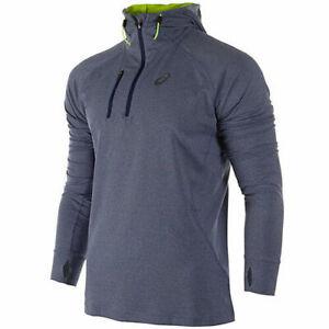 Asics 1/2 Zip Mens Running Hooded Sweat Jumper Blue 124757 8118 ...