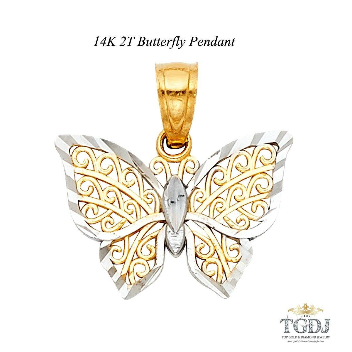 gold Butterfly Pendant 14K Two tone  He 12 MM  W 15 MM Valentine Gift
