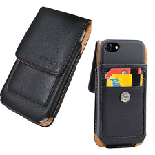 Vertical Leather Pouch Wallet Case Holster Fits iPhone 7 plus with Thin Cover On