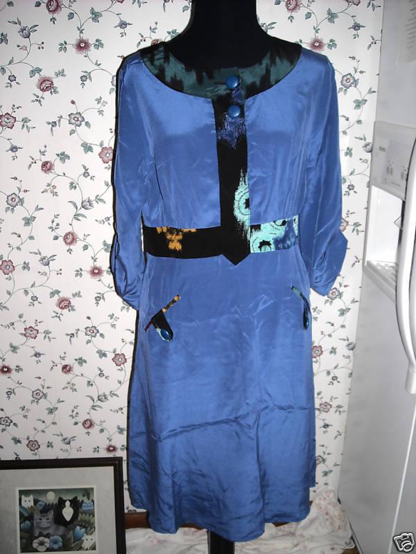 MARIA SIMPLE Hayden Harnett NYC bluee silk DRESS size S