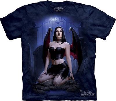 Graveyard Vamp, Female Winged Vampire in a Cemetery Tie Die T-Shirt NEW UNWORN