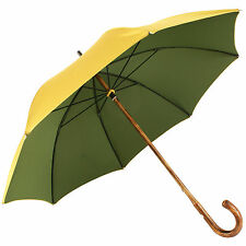 Luxury Gents Gold & Green Double Woven Umbrella with Hickory Handle by Pasotti
