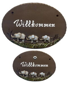 FleißIg Elefanten-keramik-19x12 Cm-ton-türschild-klingel-schild-namensschild-m.eigentext Noch Nicht VulgäR Türklingelanlagen Fenster, Türen & Treppen