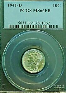 1941-D-10c-PCGS-MS66FB-Mercury-Winged-Liberty-Silver-Dime-Nice-Luster