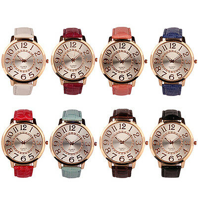 Men Women Big Numerals Rhinestone Dial Faux Leather Quartz Analog Wrist Watch