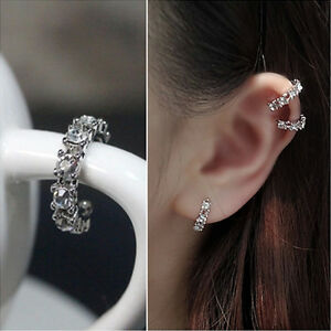 Image Is Loading Hot Silver Ear Cuff Wrap Rhinestone Cartilage Clip