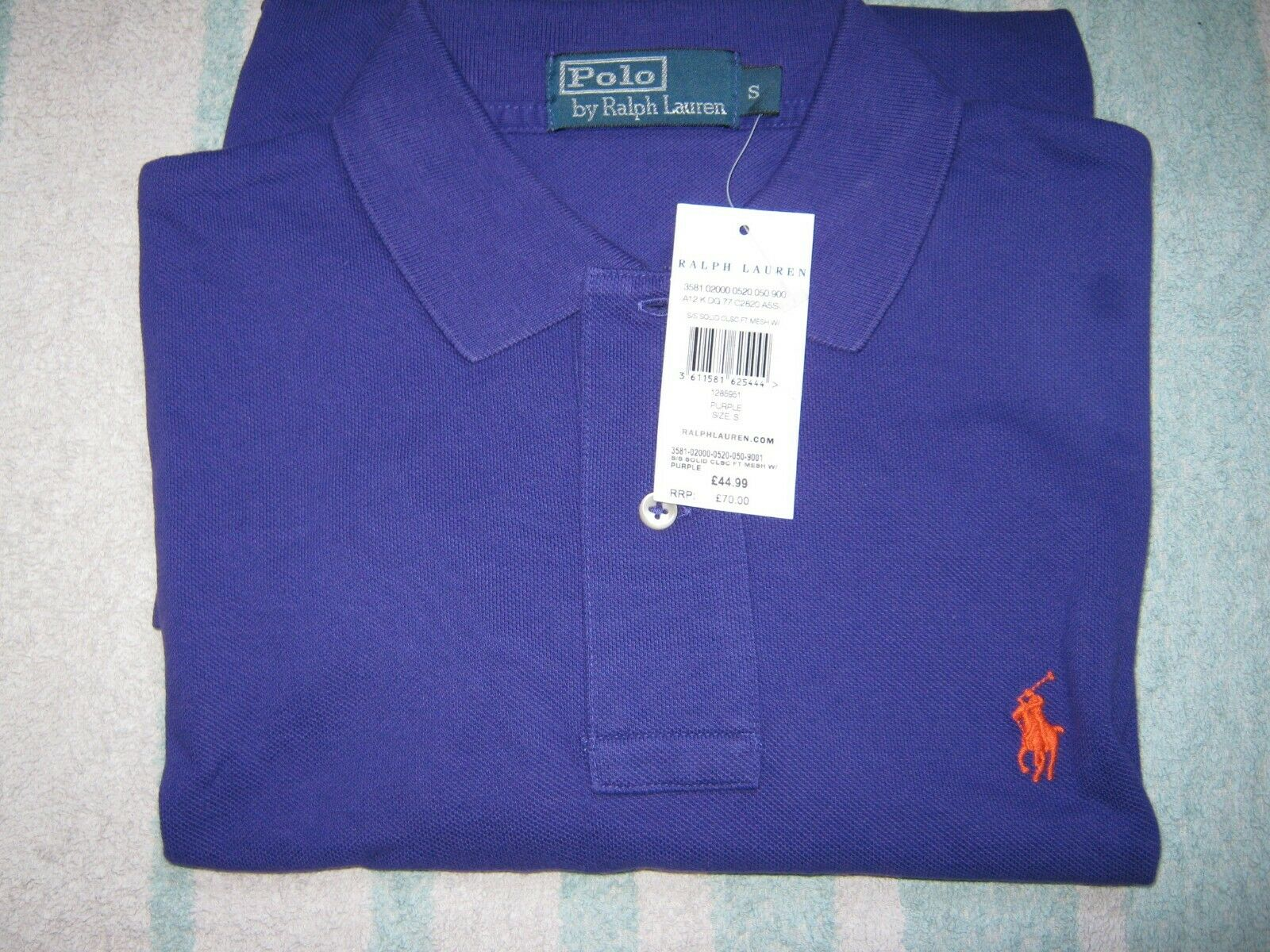 POLO RALPH LAUREN RRP PURPLE POLO SHIRT MENS SMALL SHORT SLEEVED NEW WITH TAG