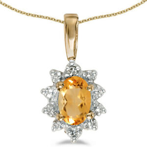 14k-Yellow-Gold-Oval-Citrine-And-Diamond-Pendant-with-18-034-Chain