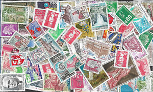 Lot-100-Timbres-Francais-obliteres-Annee-1960-a-2000-moderne-en-Francs