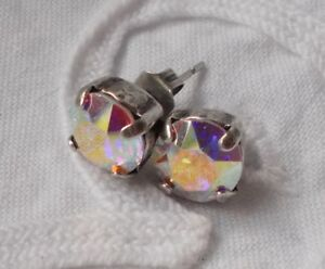 Details About 8mm Cup Chain Aurora Borealis Stud Earrings Made W Swarovski Crystals Wow