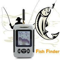 Wireless Sonar Fish Finder Portable Fishfinder Alarm 100m/125ft Depth Ocean Lake