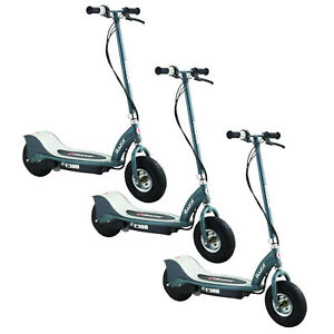 Razor-E300-Electric-24-Volt-Motorized-Rechargeable-Kids-Scooter-Gray-3-Pack