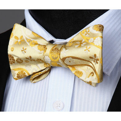 Gold  Paisley Flower Self Bow Tie Pocket Square Butterfly Silk Set#BP827DS