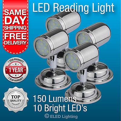 Caravan Reading Light LED Bunk Lamp Polished Stainless Steel 150 Lumens 12v-24v