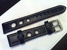 Bracelet de montre neuf en cuir rally, bleu foncé, 18mm