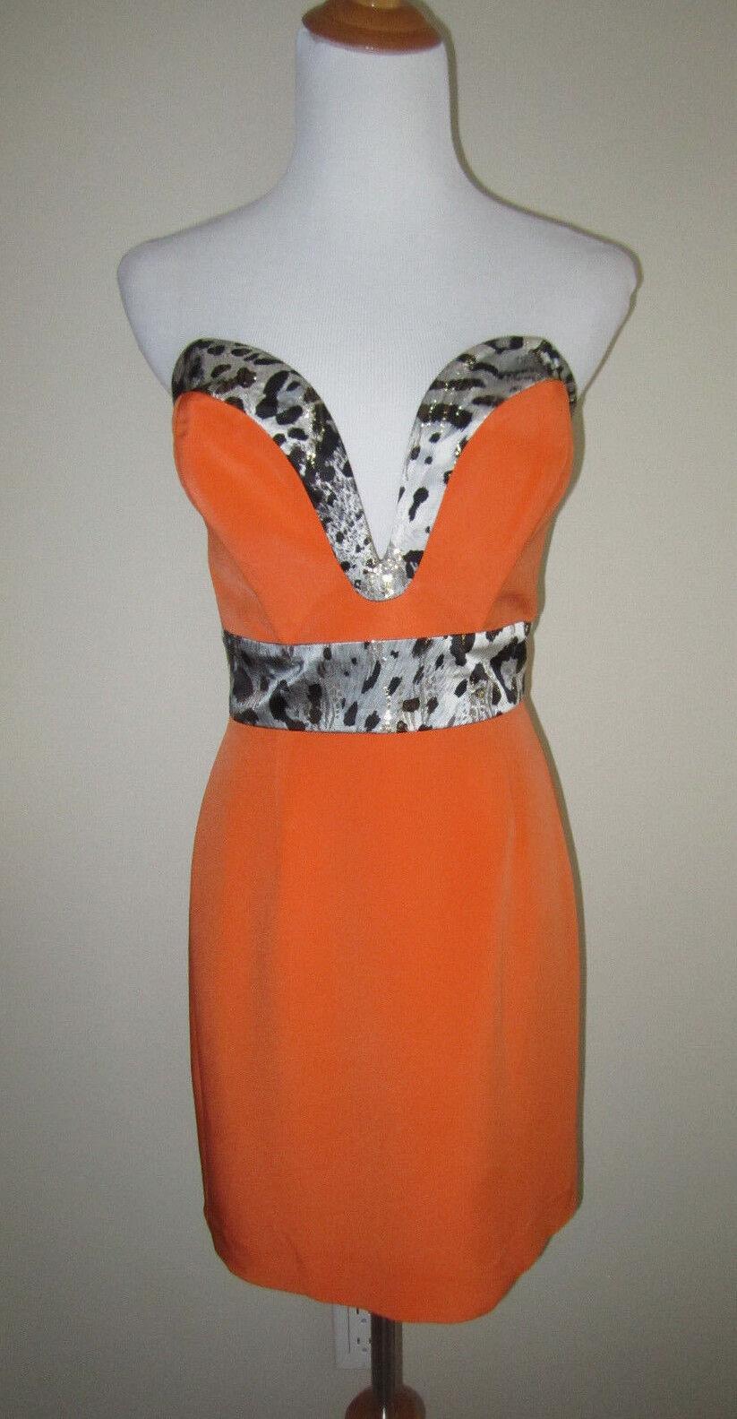 ANI LEE orange SILK LEOPARD  TARYN  STRAPLESS DRESS SMALL S CELEB FAVORITE