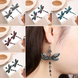 Gorgeous-Colors-Dragonfly-Crystal-Rhinestone-Dangle-Drop-Silver-Plated-Earrings
