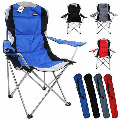 Folding Camping Chairs Heavy Duty Padded High Back Directors Cup Holder New Grey