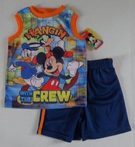 MICKEY-MOUSE-Boys-2T-3T-4T-4-5-6-7-Set-OUTFIT-Shirt-Shorts-DISNEY-Donald-Goofy