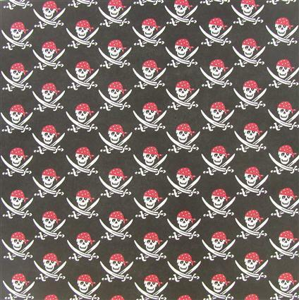 "2 SHEETS 12/"" X 12/"" /""PIRATE SKULLS/"" BACKING PAPER"