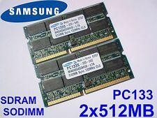 1GB 2x512MB PC133 SDRAM CL3 SO-DIMM 144 pin LAPTOP SODIMM RAM PORTATILE MEMORIA