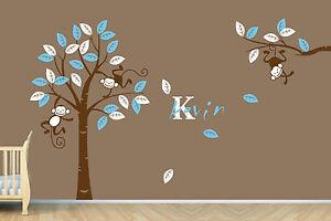Personalized-Name-Monkey-Tree-Wall-Art-Stickers-Kids-Nursery-Vinyl-Decals-Mural
