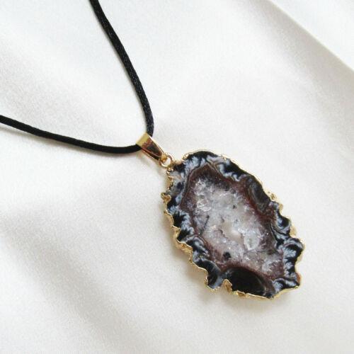 Choice of Stones Brazilian BLACK AGATE DRUZY GEODE PENDANT /& CORD Necklace