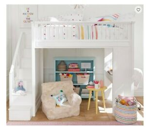 Used twin white loft bed with desk and stairs from Pottery ...